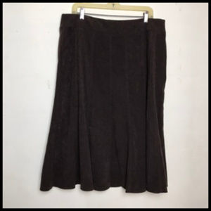 Faux Suede Texture A Line Flared Midi Skirt Sz 16